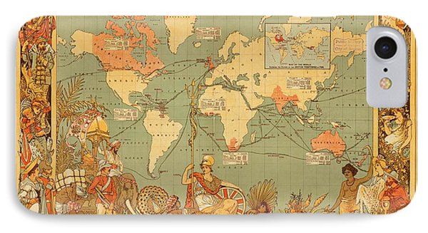 Map Of The Extent Of The British Empire 1886  IPhone Case by Mountain Dreams