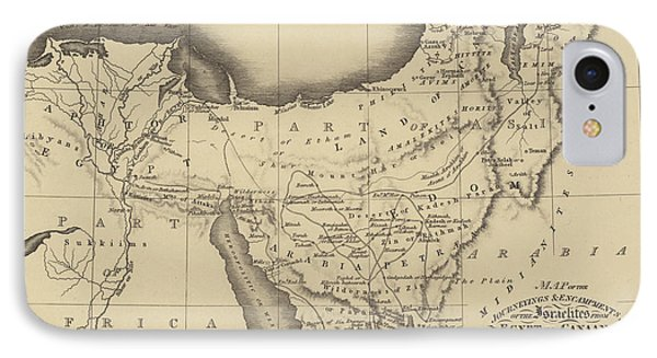 Map Of The Journeys Of The Israelites From Egypt To Canaan IPhone Case by English School