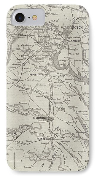 Map Of The Seat Of War In Virginia, 31st August 1861 IPhone Case by English School