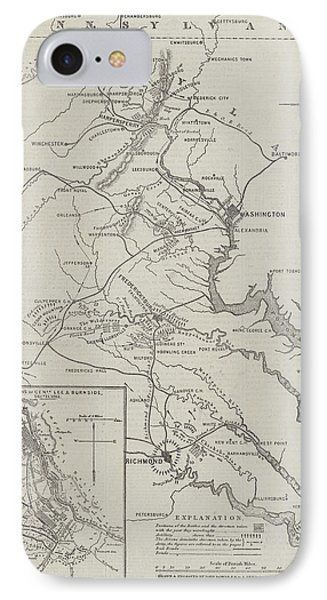Map Of The Seat Of War In Virginia IPhone Case by John Dower