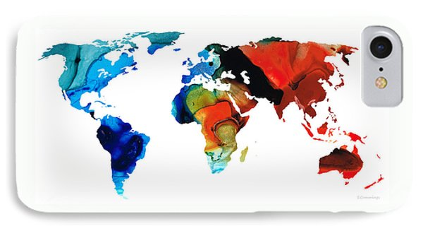 Map Of The World 3 -colorful Abstract Art IPhone Case by Sharon Cummings
