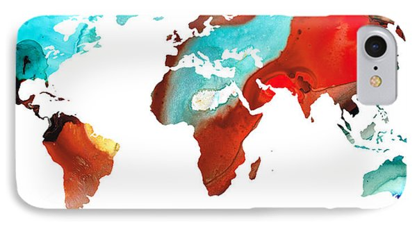 Map Of The World 4 -colorful Abstract Art Phone Case by Sharon Cummings