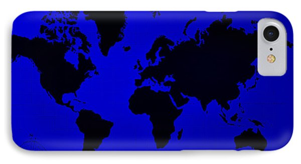 IPhone Case featuring the photograph Map Of The World Blue by Rob Hans