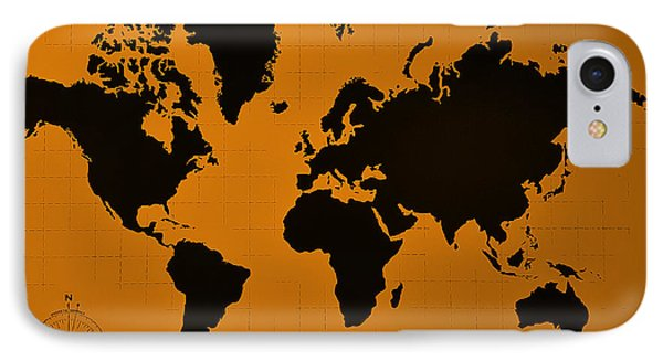 IPhone Case featuring the photograph Map Of The World Orange by Rob Hans