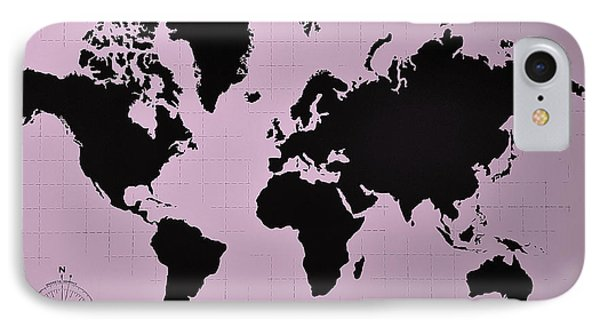 IPhone Case featuring the photograph Map Of The World Pink by Rob Hans