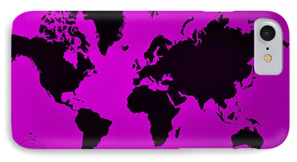 IPhone Case featuring the photograph Map Of The World Purple by Rob Hans