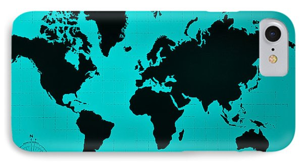 IPhone Case featuring the photograph Map Of The World Turquoise by Rob Hans