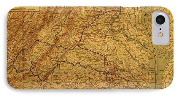 Map Of Virginia Battlefields Civil War Circa 1892 On Worn Distressed Vintage Canvas IPhone Case by Design Turnpike