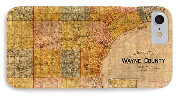 Map Of Wayne County Michigan Detroit Area Vintage Circa 1893 On Worn Distressed Canvas  IPhone Case