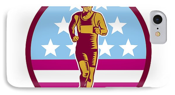 Marathon Runner Usa Flag Circle Woodcut IPhone Case by Aloysius Patrimonio