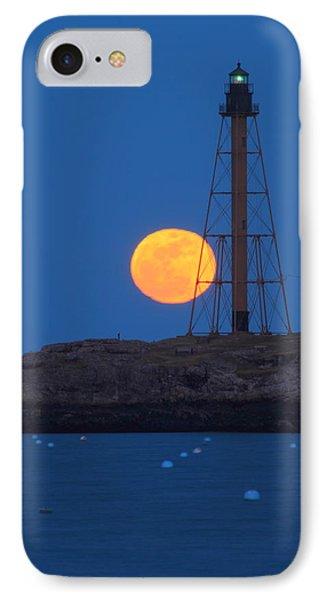 Marblehead Lighthouse Moonrise IPhone Case by John Burk