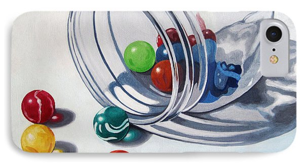 Marbles And Glass Jar Still Life Painting IPhone Case by Linda Apple
