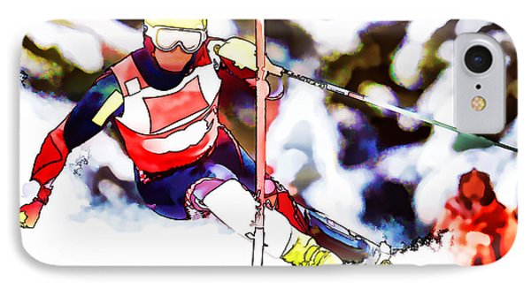 Marcel Hirscher Skiing IPhone Case by Lanjee Chee