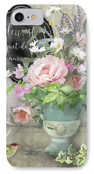 Marche Aux Fleurs 3 Peony Tulips Sweet Peas Lavender And Bird IPhone Case by Audrey Jeanne Roberts