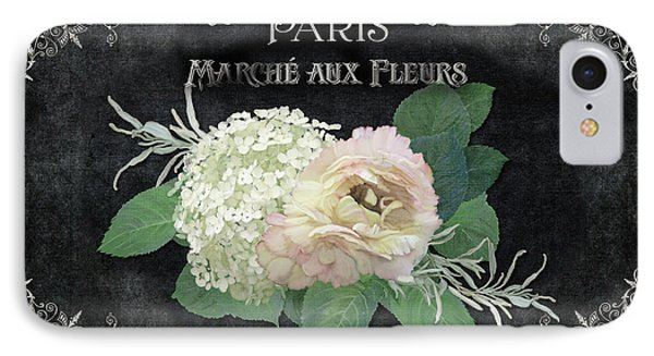IPhone Case featuring the painting Marche Aux Fleurs 4 Vintage Style Typography Art by Audrey Jeanne Roberts