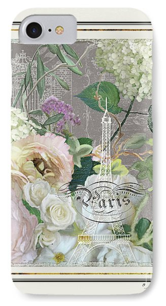 Marche Aux Fleurs Vintage Paris Eiffel Tower IPhone Case by Audrey Jeanne Roberts