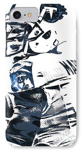 IPhone Case featuring the mixed media Marcus Mariota Tennessee Titans Pixel Art by Joe Hamilton