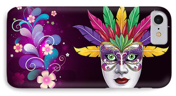IPhone Case featuring the photograph Mardi Gras Mask On Floral Background by Gary Crockett