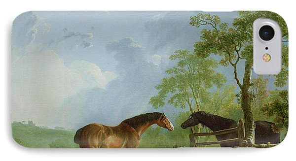 Mare And Stallion In A Landscape Phone Case by Sawrey Gilpin