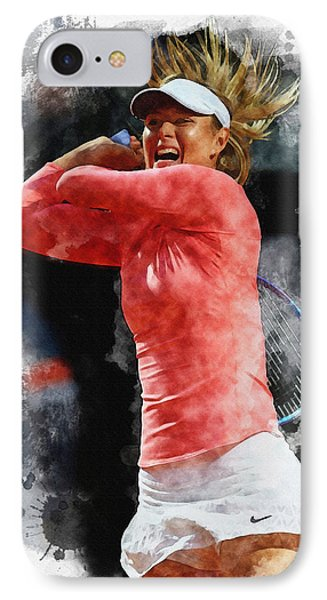 Maria Sharapova Of Russia In Action IPhone Case by Don Kuing