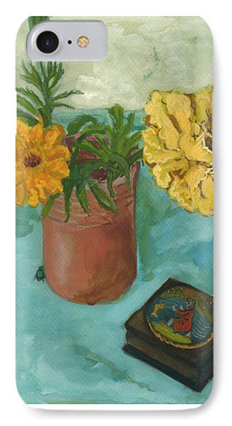 Marigolds And June Bugs IPhone Case by Laura Wilson