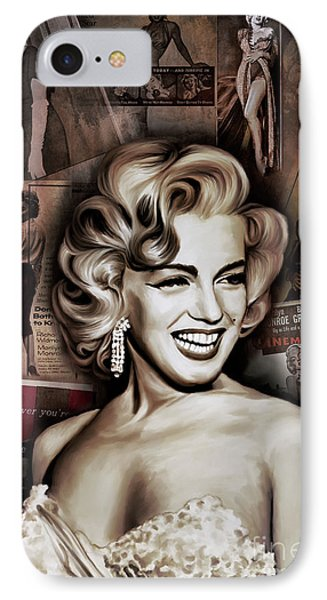 IPhone Case featuring the painting   Marilyn Monroe 4  by Andrzej Szczerski