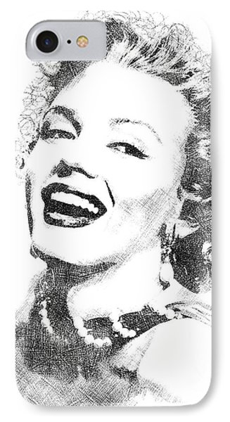 Marilyn Monroe Bw Portrait IPhone Case by Mihaela Pater