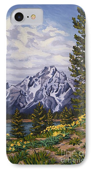 IPhone Case featuring the painting Marina's Edge, Jenny Lake, Grand Tetons by Erin Fickert-Rowland