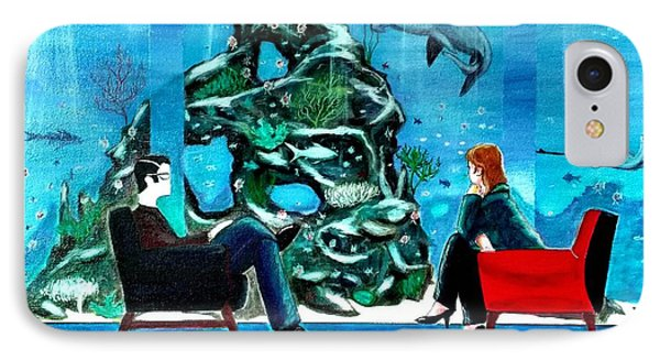 Marinelife Observing Couple Sitting In Chairs IPhone Case by John Lyes