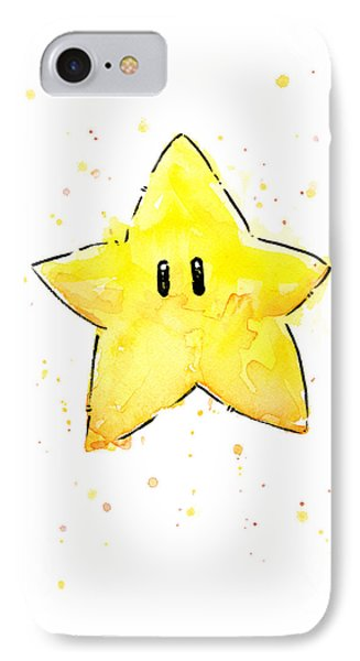 Mario Invincibility Star Watercolor IPhone Case