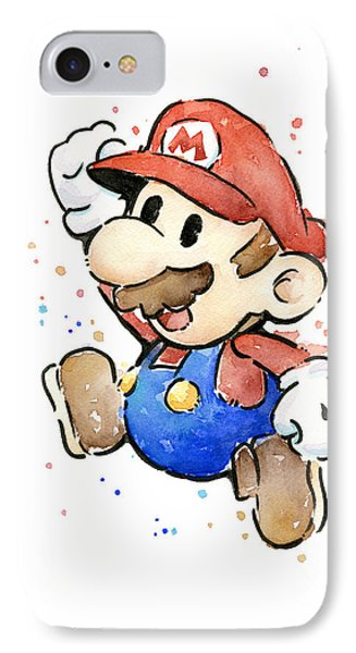 Mario Watercolor Fan Art IPhone Case by Olga Shvartsur