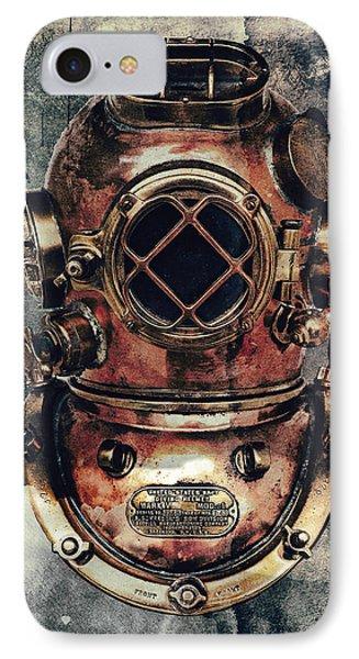 Mark V - Navy Deep Diving Helmet - 1943 IPhone Case by Daniel Hagerman