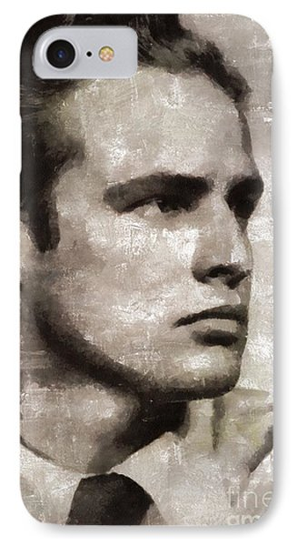 Marlon Brando, Vintage Actor IPhone Case by Mary Bassett