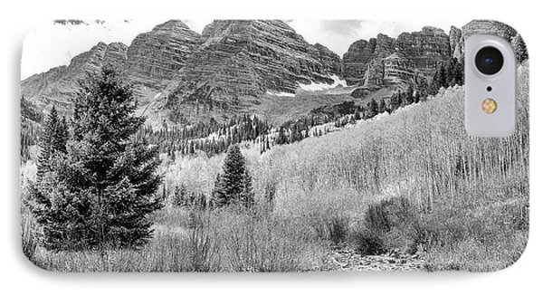 Maroon Bells Monochrome IPhone Case by Eric Glaser