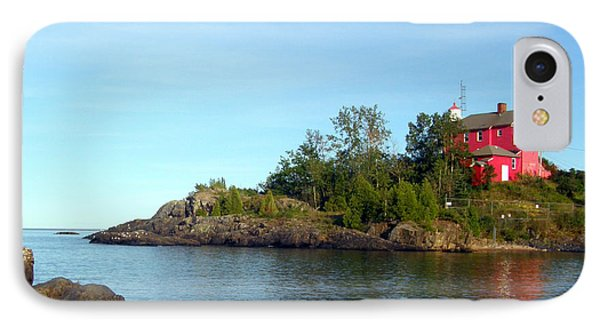 IPhone Case featuring the photograph Marquette Harbor Lighthouse Reflection by Mark J Seefeldt