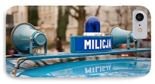 Martial Law Militia Blue Car Detail IPhone Case by Arletta Cwalina