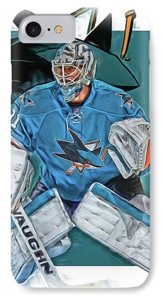 Martin Jones San Jose Sharks Oil Art IPhone Case by Joe Hamilton