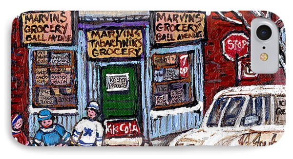 Marvins And Tabachnicks Grocery With J J Joubert Milk Truck Ball Ave Park Ex Montreal Memories Art IPhone Case by Carole Spandau