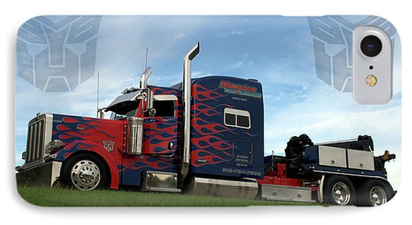 IPhone Case featuring the photograph Transformers Optimus Prime Tow Truck by Tim McCullough