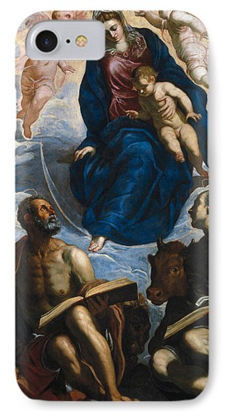 Mary With The Child, Venerated By St. Marc And St. Luke IPhone Case