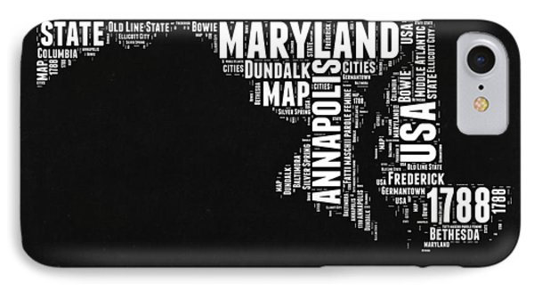 Maryland Black And White Map IPhone Case by Naxart Studio