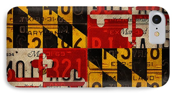 Maryland State Flag Recycled Vintage License Plate Art Phone Case by Design Turnpike