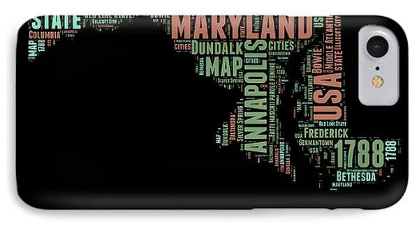 Maryland Word Cloud 1 IPhone Case by Naxart Studio