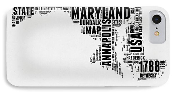 Maryland Word Cloud 2 IPhone Case by Naxart Studio