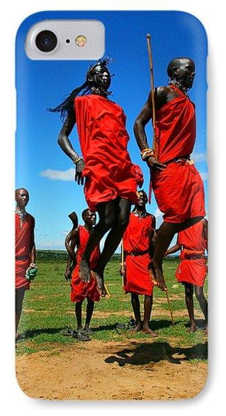 Masai Warrior Dancing Traditional Dance IPhone Case