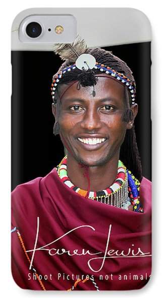 IPhone Case featuring the photograph Masai Warrior by Karen Lewis
