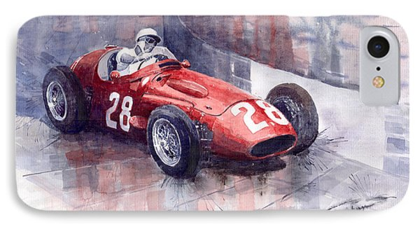 Maserati 250 F Gp Monaco 1956 Stirling Moss IPhone Case by Yuriy  Shevchuk