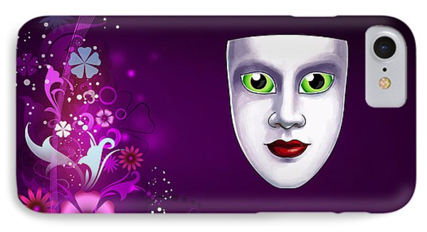 IPhone Case featuring the photograph Mask With Green Eyes On Pink Floral Background by Gary Crockett