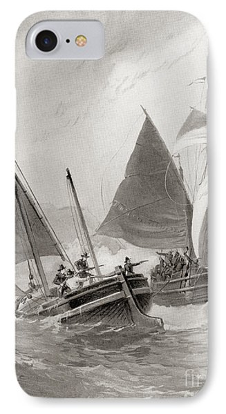Mason And Gallop Attacking The Indians Off Block Island IPhone Case by American School