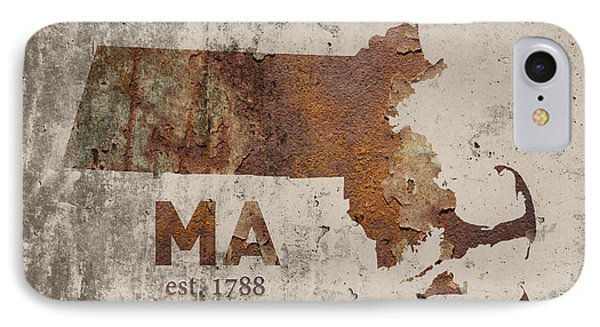 Massachusetts State Map Industrial Rusted Metal On Cement Wall With Founding Date Series 016 IPhone Case